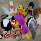 TY BEANIE BABIES - RETIRED - LOT of 9 WILDLIFE ANIMAL BEANIES - NEW WITH TAGS!