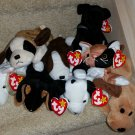 TY BEANIE BABIES - RETIRED - LOT #1 of 8 DOG & CAT BEANIES - NEW WITH TAGS!