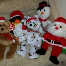 TY BEANIE BABIES - RETIRED - LOT of 5 CHRISTMAS BEANIES - NEW WITH TAGS!