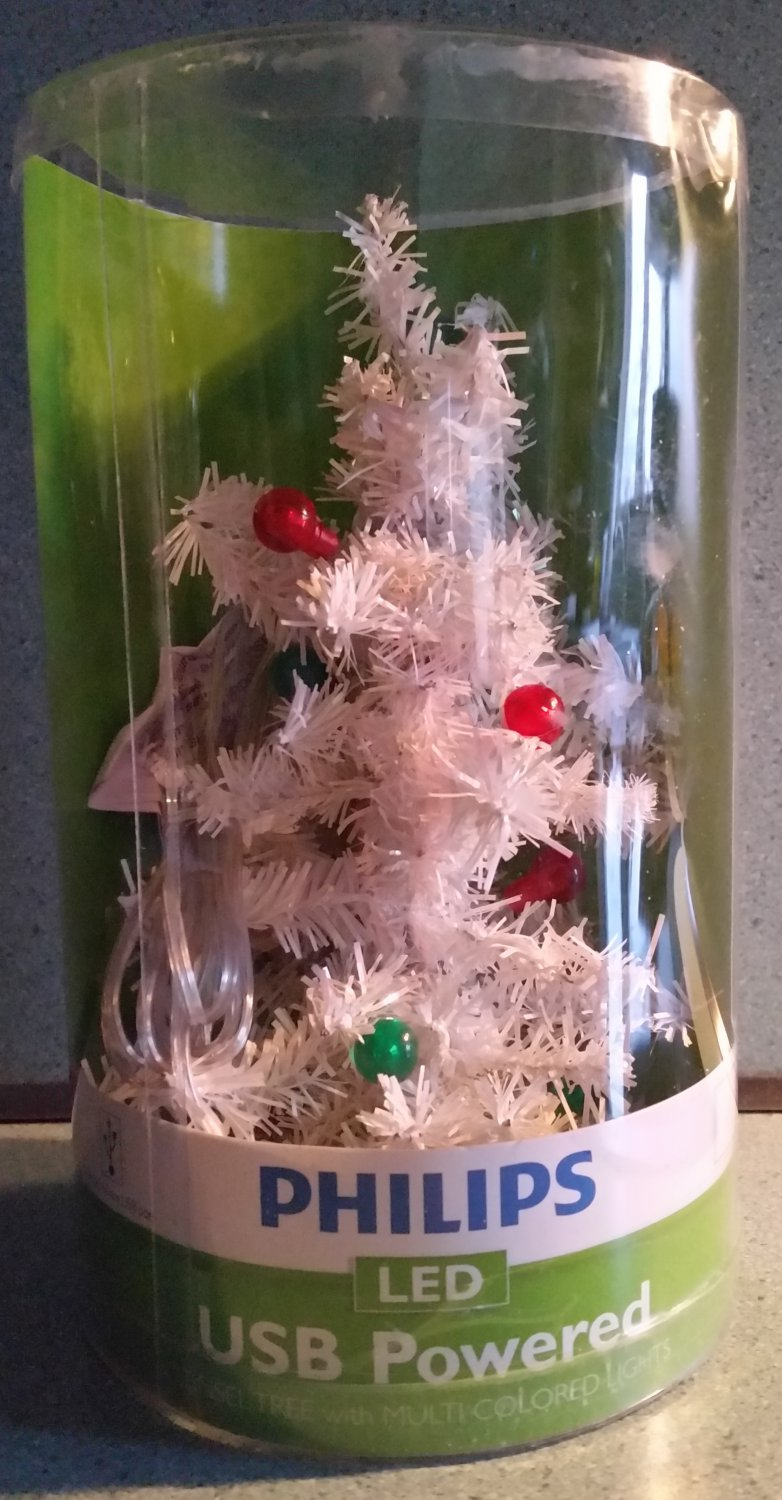Philips USB Powered LED White Tinsel Christmas Tree with Red & Green Lights - NEW IN BOX!