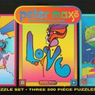 PETER MAX PUZZLE SET of 3 - 500 piece puzzles - Sunrise, Love, Year of 2250 - FACTORY SEALED!