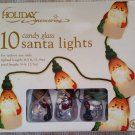 HOLIDAY MEMORIES 10 CANDY GLASS SANTA LIGHTS - FRANK'S NURSERY & CRAFTS - VERY UNIQUE!