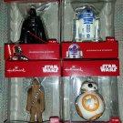 Hallmark Star Wars Christmas Ornaments 2016 - Lot of 4 - Darth Vader, R2D2, Chewbacca & BB-8!