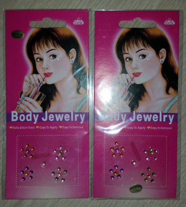 Body Jewelry Sparkling Stick-on Body Crystal Gems - Small Flowers & PINK Sexy Points - Lot of 2!