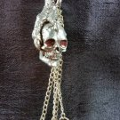 "CAR CHIMES DRAGON ""CLAW WITH SKULL"" PEWTER & RED CRYSTAL REAR VIEW MIRROR CAR CHARM & CHIME!"