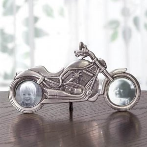 Pewter Motorcycle Picture Frame