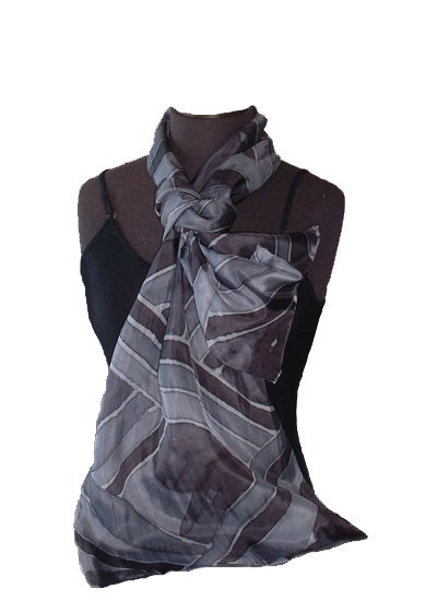 Hand Painted Silk Scarf - Ebony Stripe Oblong #202