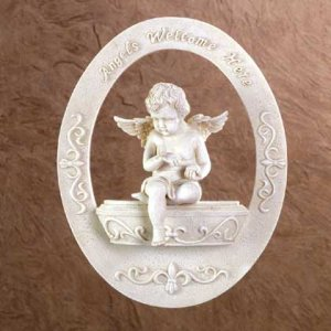 ANGELS WELCOME HERE WALL PLAQUE
