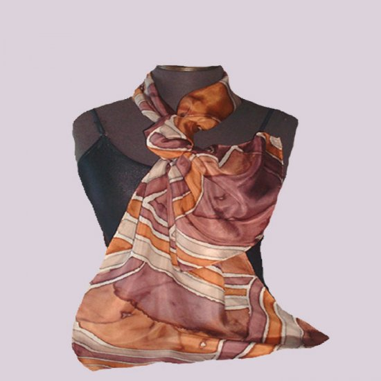 100% pure silk...HAND PAINTED..Taupe Stripe Silk Oblong #201
