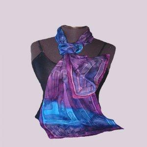 Blue Jacquard Silk Oblong #205