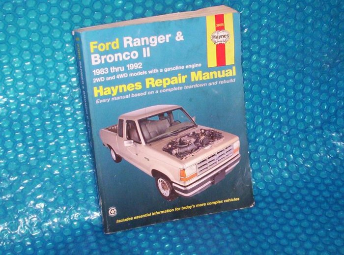 Ford Ranger/Bronco Haynes MANUAL  1563920662 (949)