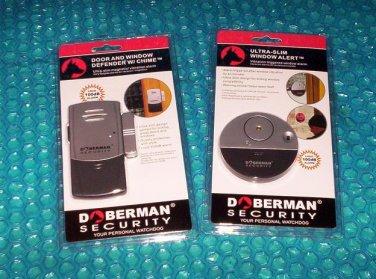 Doberman Security Starter Set Door &Window Defender w/Chime and Ultra-Slim Window Alert   stk#(2660)