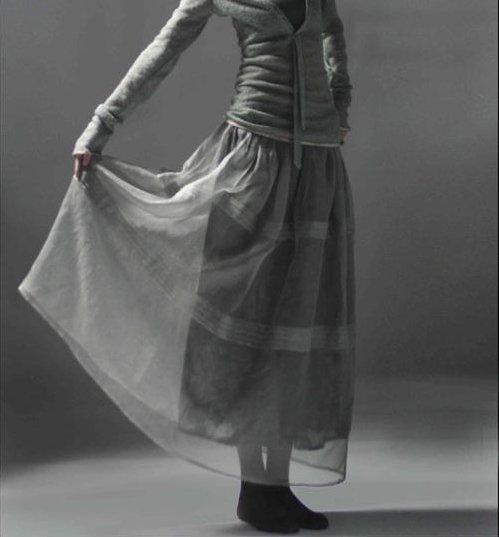 Gray Gauze Long Skirt