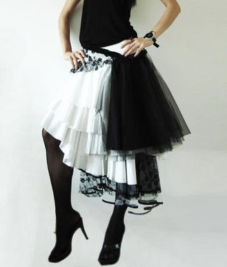 Black & White Multi-layer Gauze Skirt