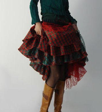 Scotland Christmas - Green & Red Multi-layer Skirt