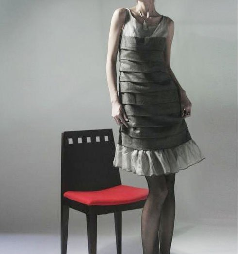 Pleats Party Dress Gray