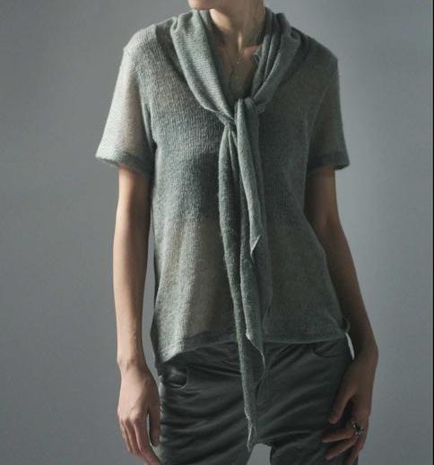 Gray Sweater with Scarf