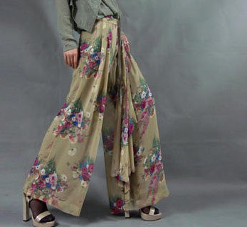 Tan Color Wide Leg Floral Pants