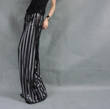 Black and White Straps Loose Pants Beads Decors