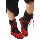 Black and Red Strapping Fabric Shoes