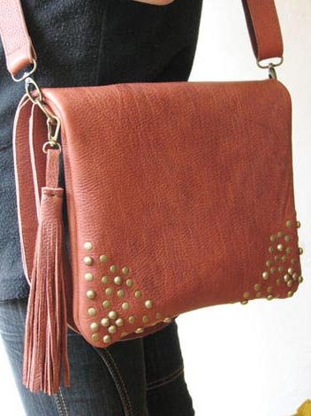 Dual Use Shoulder Bag or Messenger Iron Red Leather Bag