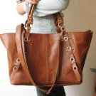 Tri-use Brown Color Large Tote/Shoulder/Hip Bag Genuine Leather