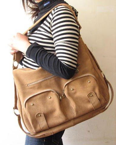 Light Tan Color Shoulder or Hip Leather Bag Extensive Straps