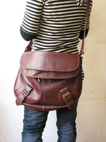 Wine Red Color Unisex Leather Shoulder bag