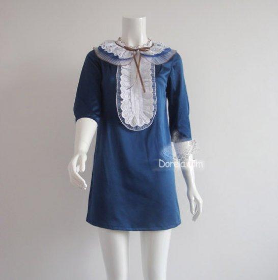 Blue lotus collar silk party dress