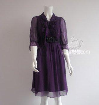 Bowknot silk dress 3 colors