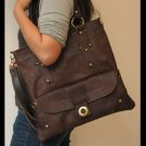 Dark Brown Color Shoulder or Tote Leather Bag Detachable Strap