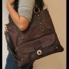 Dark Brown Color Shoulder or Tote Leather Bag Detachable Strap