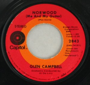 "Glen Campbell ""Norwood (Me and My Guitar)/Everything a Man Could Ever Need"" Capitol Records 45 Vinyl"