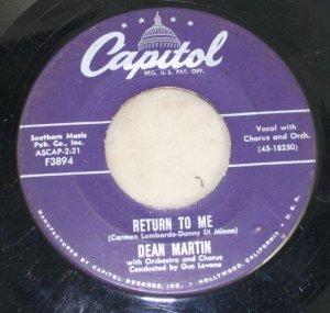 "Dean Martin ""Return to Me"" Capitol Records 45 Vinyl"