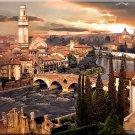 Tuscany ART Italian City Verona River Italian  PAINTING