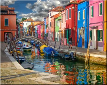 Burano with Speed Boat Italy Italian water canal ART PAINTING by McKenzie