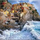"Tuscany ART Manarola Fantasy surreal ocean cliffs Italy PAINTING (24"" x 30"")"