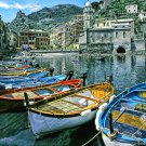 Boats on the Italian Shorl Italy water cliffs ART PAINTING by McKenzie