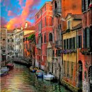 Tuscany ART Fiery Canal Italian boats McKenzie PAINTING
