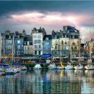 French ART HONFLEUR HARBOR France boat PAINTING