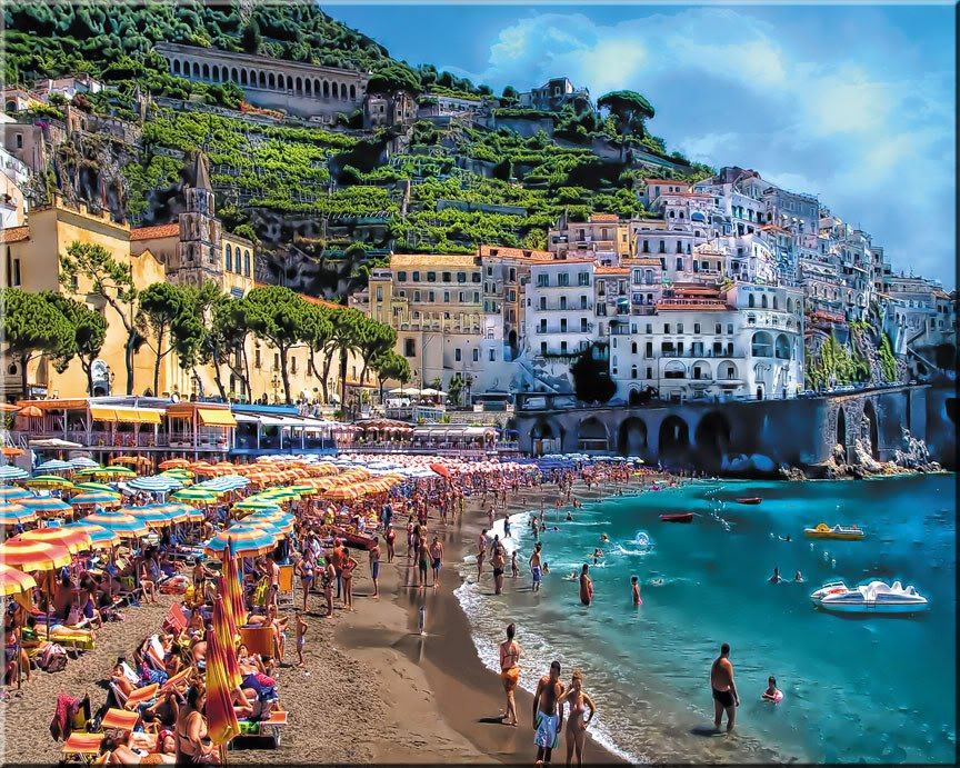 "Amalfi Coastline Tuscany ART Beach Coast Shore bathers Italian PAINTING (24"" x 30"")"