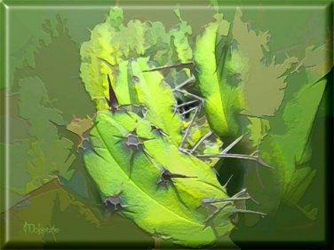Abstract Green Cactus ART ORIGINAL MCKENZIE PAINTING