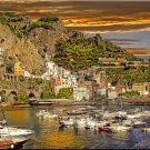 Tuscany Italy ART Boats Harbor Sunset Italian PAINTING