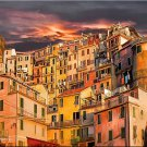 Tuscany ART PAINTING Italian Manarola Homes Italy