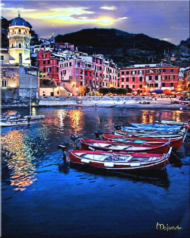 Coast at DuskTuscany ART Ocean Sunset boats Italian PAINTING by McKenzie