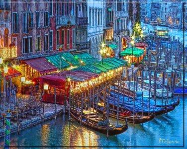 """Gondolas at the Cafes""  Metallic Print (20 x 24)"