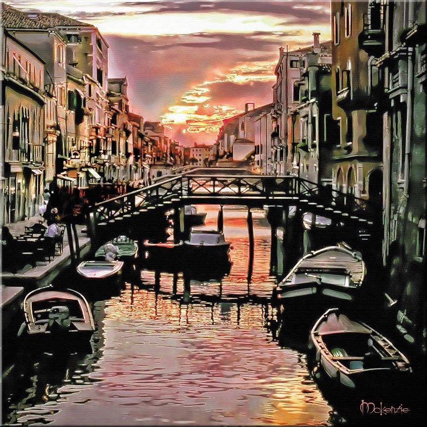 """""""BOATS IN SHADOW""""  Tuscany Italy Italian Boats Painting (32"""" x 40"""")"""