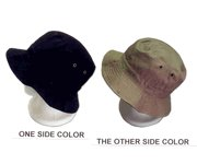 Chino Reversible Hats- Adult Size-  Black And Khaki- Cotton Twill ( Ordered By the Dozen