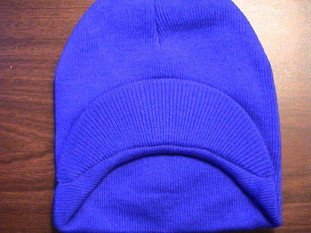 Royal Blue Single Visor Beanie - 100% Cotton- One Size Fits All- Beanies