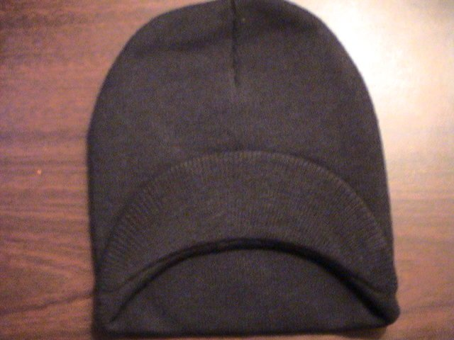 Black - Single Visor Beanie - 100% Cotton- One Size Fits All- Beanies